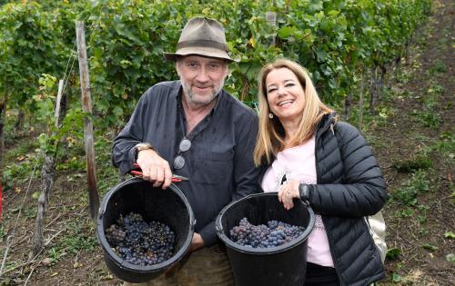 Martina Mack und Harold Faltermeyer bei der Weinlese